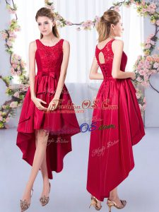 Charming Red Bridesmaid Dress Prom and Party and Wedding Party with Appliques Scoop Sleeveless Lace Up