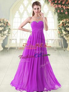 Sophisticated Purple Sleeveless Beading Floor Length Prom Dress
