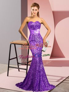 Dazzling Sweep Train Mermaid Evening Dress Purple Sweetheart Sequined Sleeveless Backless