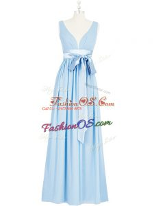 Floor Length Backless Prom Party Dress Baby Blue for Prom and Party and Military Ball with Ruching and Bowknot