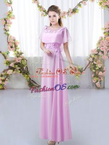 Short Sleeves Chiffon Floor Length Zipper Wedding Guest Dresses in Lilac with Appliques