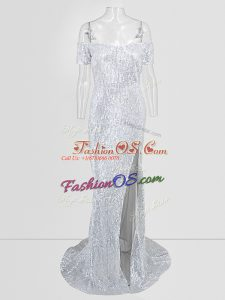 Noble Off The Shoulder Short Sleeves Sweep Train Sequins Prom Gown in Silver
