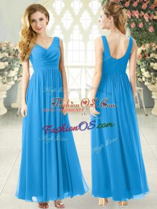 Elegant V-neck Sleeveless Prom Gown Ankle Length Ruching Blue Chiffon