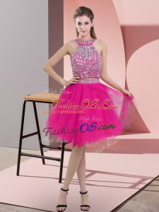 Knee Length Backless Prom Gown Hot Pink for Prom and Party with Beading