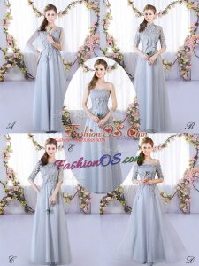 Cute Sleeveless Lace Up Floor Length Appliques Court Dresses for Sweet 16