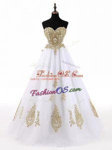 Modest White A-line Beading and Appliques 15 Quinceanera Dress Lace Up Tulle Sleeveless Floor Length