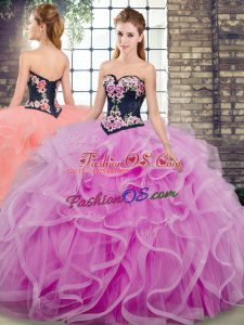 Fashionable Sleeveless Tulle Sweep Train Lace Up Sweet 16 Quinceanera Dress in Lilac with Embroidery and Ruffles