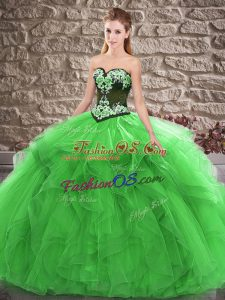 Green Sleeveless Floor Length Beading and Embroidery Lace Up Sweet 16 Dress