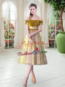 Attractive Gold Lace Up Prom Dresses Appliques Sleeveless Tea Length