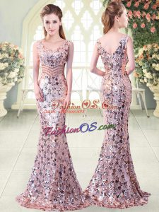 Mermaid Prom Evening Gown Pink V-neck Sequined Sleeveless Floor Length Zipper