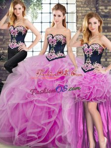 Decent Lilac Sleeveless Sweep Train Embroidery and Ruffles Quinceanera Dresses