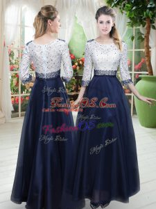 Vintage Organza 3 4 Length Sleeve Floor Length Prom Dress and Beading and Lace