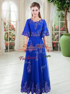 Extravagant Floor Length Royal Blue Prom Dress Scoop Half Sleeves Lace Up