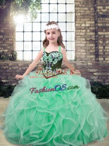 Latest Apple Green Lace Up Child Pageant Dress Embroidery and Ruffles Sleeveless Floor Length