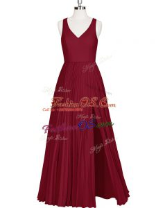 Sleeveless Floor Length Zipper Prom Evening Gown in Wine Red with Pleated