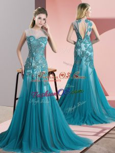Fantastic Teal Sleeveless Beading and Appliques Backless Prom Gown