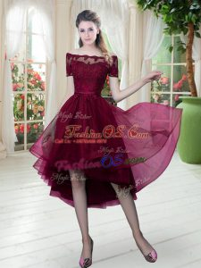 Customized Burgundy A-line Lace Homecoming Dress Lace Up Tulle Short Sleeves High Low