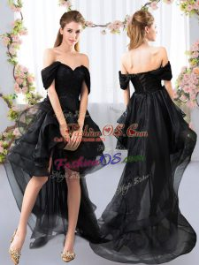 5cb28ffb283 Black Short Sleeves Lace and Ruffled Layers High Low Bridesmaid Dress  US   106.9500. 65%. Glorious Mini Length Pink ...