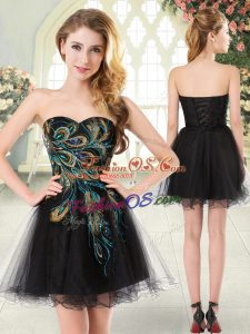 High Class Black A-line Tulle Sweetheart Sleeveless Beading and Appliques Mini Length Lace Up Prom Evening Gown