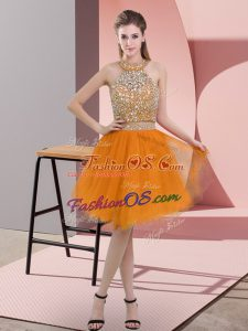Adorable Knee Length Orange Prom Dresses Organza Sleeveless Beading