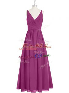 Sleeveless Zipper Floor Length Ruching