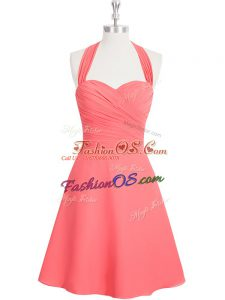 Fitting Watermelon Red A-line Ruching Homecoming Dress Zipper Chiffon Sleeveless Mini Length