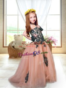 Peach Tulle Lace Up Spaghetti Straps Sleeveless Little Girl Pageant Gowns Brush Train Appliques