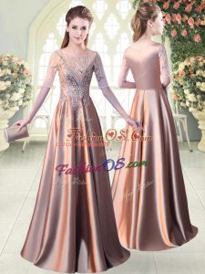 Pink A-line Scoop Half Sleeves Elastic Woven Satin Floor Length Zipper Sequins Evening Dress