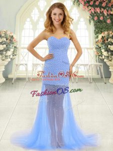 Nice Baby Blue Sweetheart Neckline Beading Prom Dresses Sleeveless Zipper