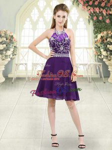On Sale Eggplant Purple A-line Chiffon Halter Top Sleeveless Beading Knee Length Zipper Prom Gown