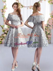 Free and Easy Knee Length Zipper Damas Dress Grey for Prom and Party and Wedding Party with Lace