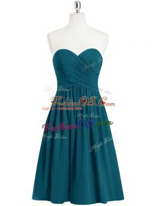 Teal Prom Dresses Prom and Party and Military Ball with Pleated Sweetheart Sleeveless Zipper