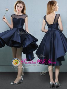 Satin Bateau Cap Sleeves Lace Up Appliques Quinceanera Court of Honor Dress in Navy Blue