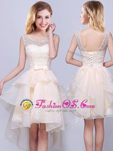 Top Selling Scoop Lace and Ruffles Wedding Party Dress Champagne Lace Up Sleeveless High Low