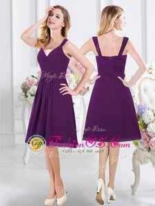 Cheap Purple Bridesmaids Dress Prom and Party and Wedding Party and For with Ruching Straps Sleeveless Zipper