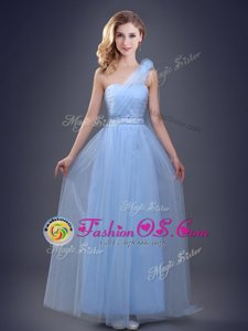 One Shoulder Tulle Sleeveless Floor Length Bridesmaid Gown and Beading and Ruching and Hand Made Flower