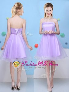 Luxury Lavender Sleeveless Bowknot Knee Length Dama Dress for Quinceanera