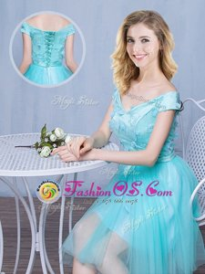 Aqua Blue Lace Up Off The Shoulder Lace and Appliques and Bowknot Dama Dress for Quinceanera Tulle Cap Sleeves