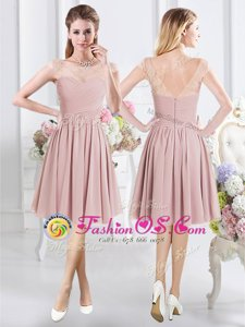 Fine A-line Quinceanera Dama Dress Pink Scoop Chiffon Cap Sleeves Knee Length Zipper