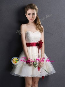 Elegant Mini Length Lace Up Vestidos de Damas Champagne and In for Prom and Party and Wedding Party with Lace and Hand Made Flower