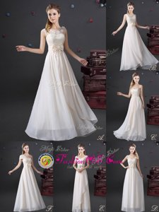 Flare V-neck Sleeveless Wedding Party Dress Floor Length Lace and Appliques and Bowknot White Chiffon
