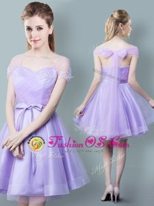 Sophisticated Lavender Tulle Zipper Straps Cap Sleeves Knee Length Damas Dress Ruching and Bowknot