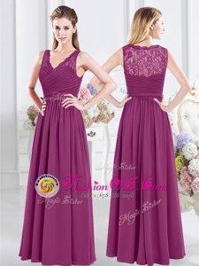 Exceptional Floor Length White Quinceanera Dama Dress V-neck Sleeveless Zipper