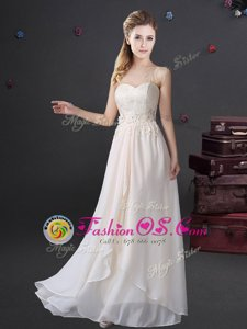 Chiffon Sweetheart Sleeveless Zipper Lace and Appliques Wedding Party Dress in White