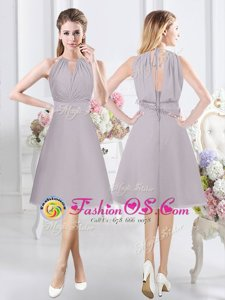 Fancy A-line Dama Dress for Quinceanera Grey Halter Top Chiffon Sleeveless Knee Length Zipper