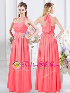 Floor Length Watermelon Red Bridesmaid Dress Halter Top Sleeveless Zipper