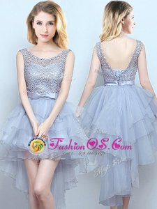 Scoop High Low Lace Up Quinceanera Court of Honor Dress Grey and In for Prom and Party and Wedding Party with Lace and Ruffles and Belt