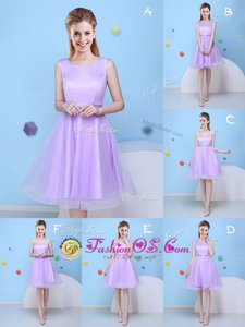 Cheap Scoop Lavender Tulle Lace Up Bridesmaids Dress Sleeveless Knee Length Bowknot