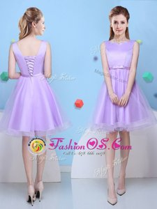 Decent Scoop Sleeveless Tulle Knee Length Lace Up Dama Dress for Quinceanera in Lavender for with Bowknot