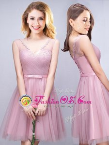 Ruching and Bowknot Quinceanera Court Dresses Pink Lace Up Sleeveless Mini Length